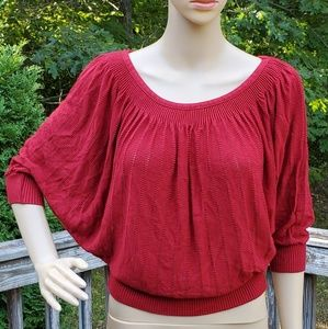 Twenty One Red Knit Top 3/4 Dolman Sleeve Size M